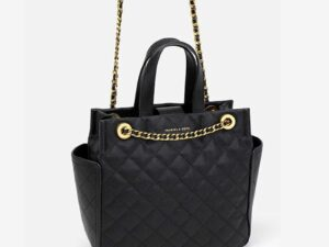 Large quilted top handle black bag