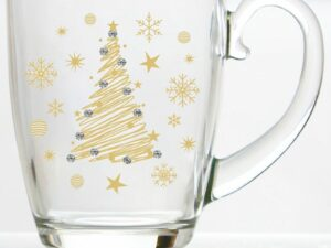 Miniso Christmas Tree Drinking Glass With Rhinestone 28 cl