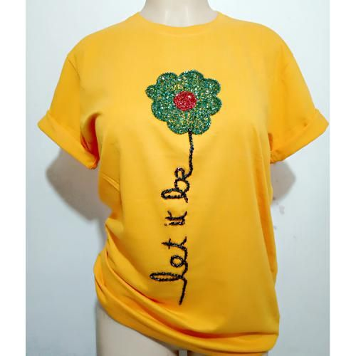 T-Shirt With Beaded Flower Design Yellow