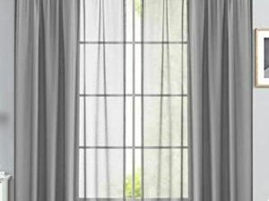 75 By 75 Quality Sheer Curtain  GREY