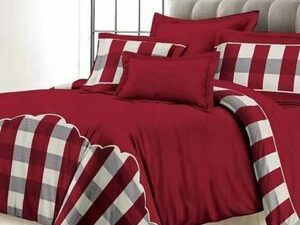 Pure Cotton BEDSHEET DUVET WITH PILLOWCASES  RED