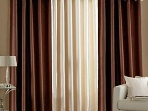 High Quality Curtains With Rings  3PIECES BROWNCREAM