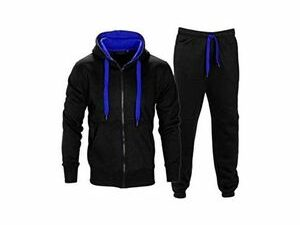 Black Urban Hoodie Pullover With Inner Blue Cap And Jogger