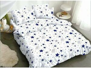 Duvet Bedsheet With Pillow Cases  White And Blue STAR