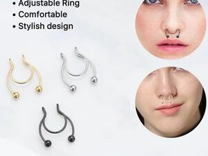 Trendy 3 Piece Non Piercing Nose Ring And Septum Clip On Ring