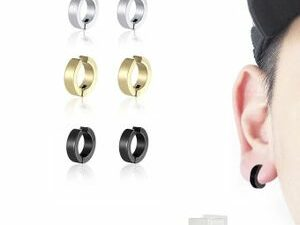 3 Pairs6 Pieces Painless Non Piercing MenWomen Round Hoop Stainless Steel Earring