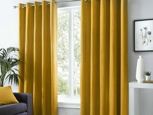 High Quality Curtains With Rings  OCHRE COLOUR