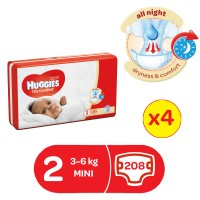 HUGGIES DRYCOMFORT DIAPERS SIZE 2 52 diapers x 4 208